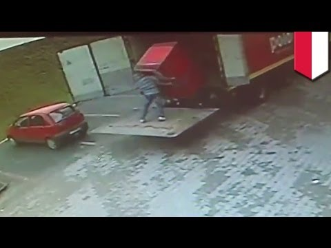 Shocking CCTV footage: Polish man CRUSHED by refrigerator while unloading truck