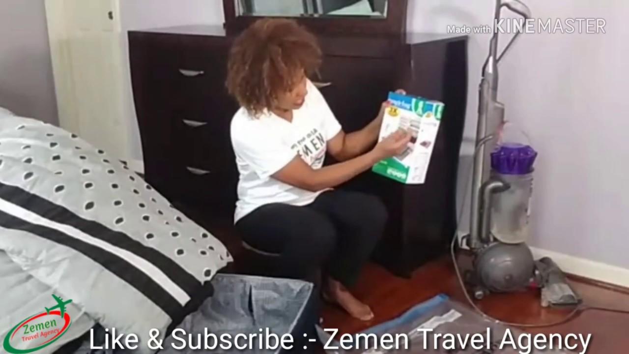 How to Pack Bulk Clothes When We are Traveling -  ትላልቅ ልብሶችን ወደ አገር ቤት ለመውሰድ ቀላል መፍትሄ