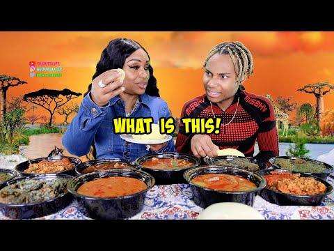 Darius Tastes African Food | Fufu, Egusi Soup, Cassava Leaves, Goat Pepper Soup, and Potato Leaf