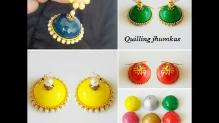 How To Make Quilling Jhumkas Perfect Shape||Jhumka Making Tips||how to make paper base jhumkas