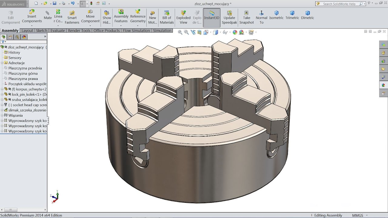 Solidworks tutorial | Sketch 4 jaw chuck in Solidworks - YouTube