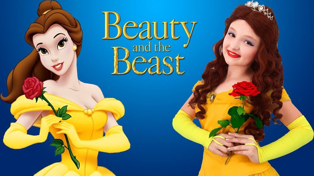 Disney Princess Dresses Kids Makeup Beauty And The Beast Belle Super Elsa Magic Cosplay Youtube
