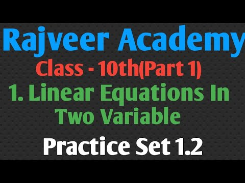 10th 1. Linear Equation In Two Variable  # Practice Set 1.2 (Part 1)
