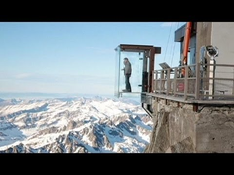 Tourist heaven for thrillseekers Alpine glass cabin over