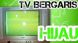 service tv sharp gambar bergaris hijau  yg sudah diganti mesin cina