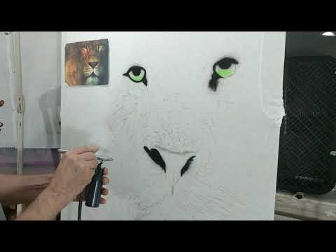 Part 1 How to airbrush a Lion on a t-shirt...The Lion from the tribe of Judah