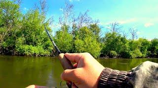Рыбалка со спиннингом на красивейшей речке! Рыбалка на спиннинг в мае!