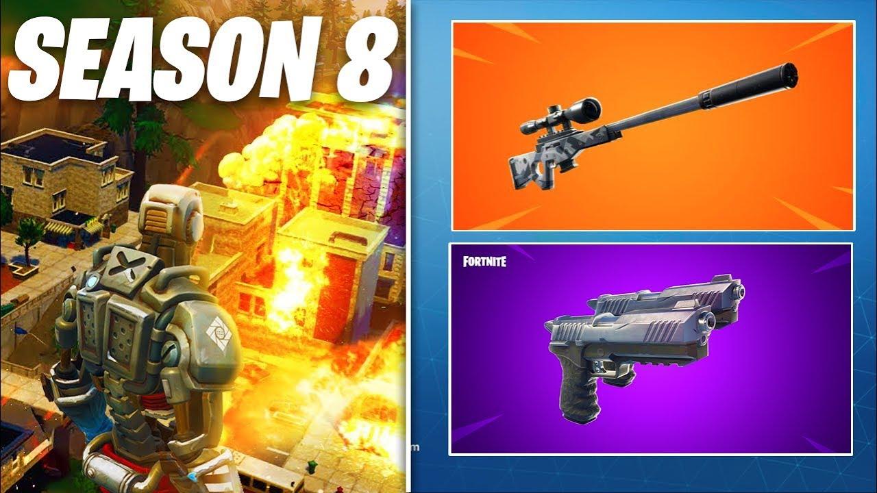 new fortnite update season 8 teaser dual pistols return suppressed sniper more - fortnite season 8 teaser 4 twitter