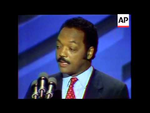 Jesse Jackson brought his 1988 presidential campaign to an emotion-charged convention climax, summon