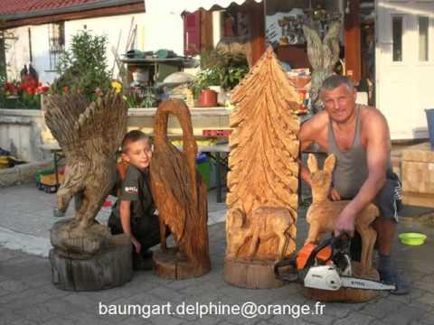 alfred baumgart sculpture sur bois avec tron onneuse. Black Bedroom Furniture Sets. Home Design Ideas