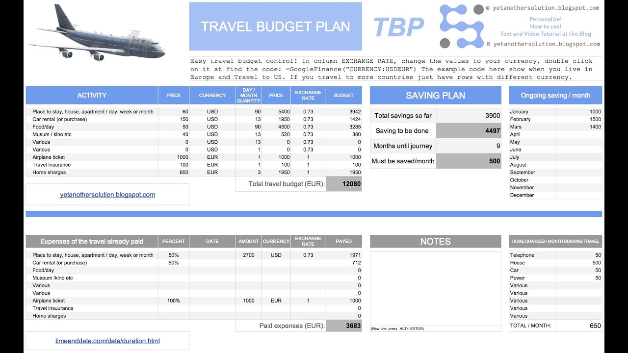 Travel budget plan youtube for How to make a budget plan template