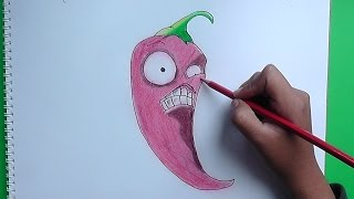 Dibujando a Jalapeño (plants vs zombies) - Drawing a Jalapeño