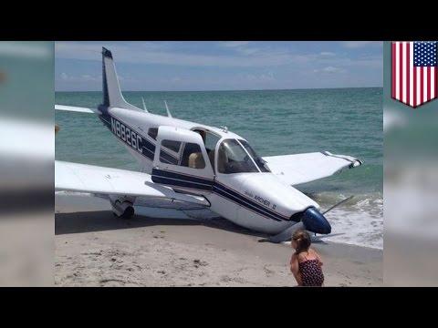 Florida plane crash: Piper Cherokee makes emergency landing on Caspersen Beach in Venice