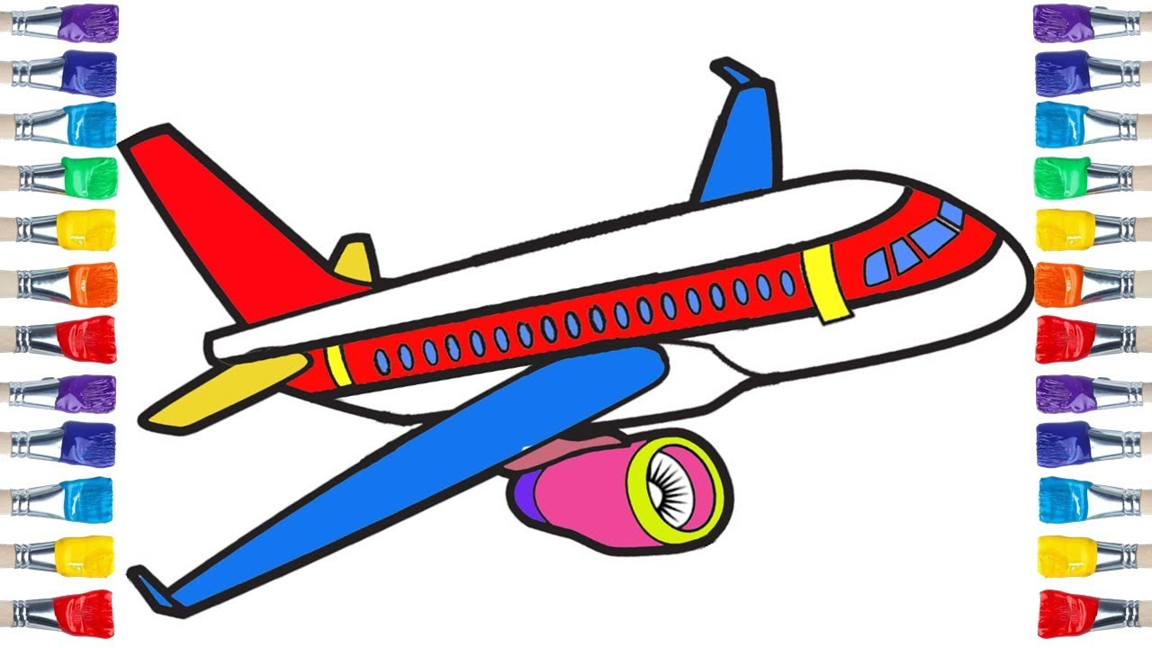 How To Draw An Airplane Easy Airplane Colouring For Kids