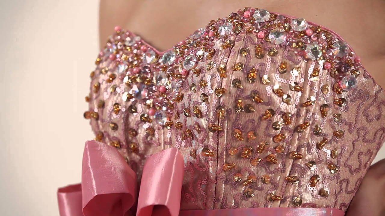 Quinceanera dress bella sera pale pink gold youtube for The bella sera