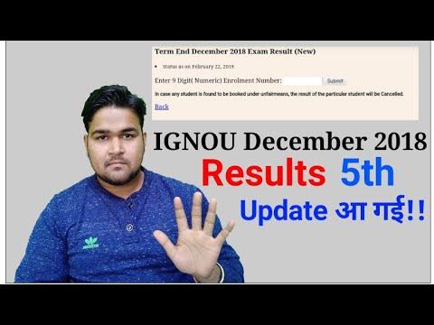 IGNOU December 2018 Result 5th Update  Released   IGNOU Results 2019  