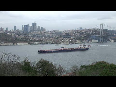 Istanbul. View from the park to the Bosphorus, Bosporus Bridge and Ortaköy.