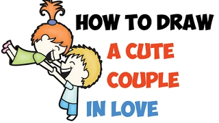 How to Draw Cute Cartoon Couple in Love Holding Hands Easy Step by Step Drawing (Kawaii Chibi )
