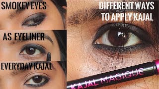 How to Apply Kajal in Different Ways | Create smokey eyes /eyeliner/everyday Looks Using Kajal