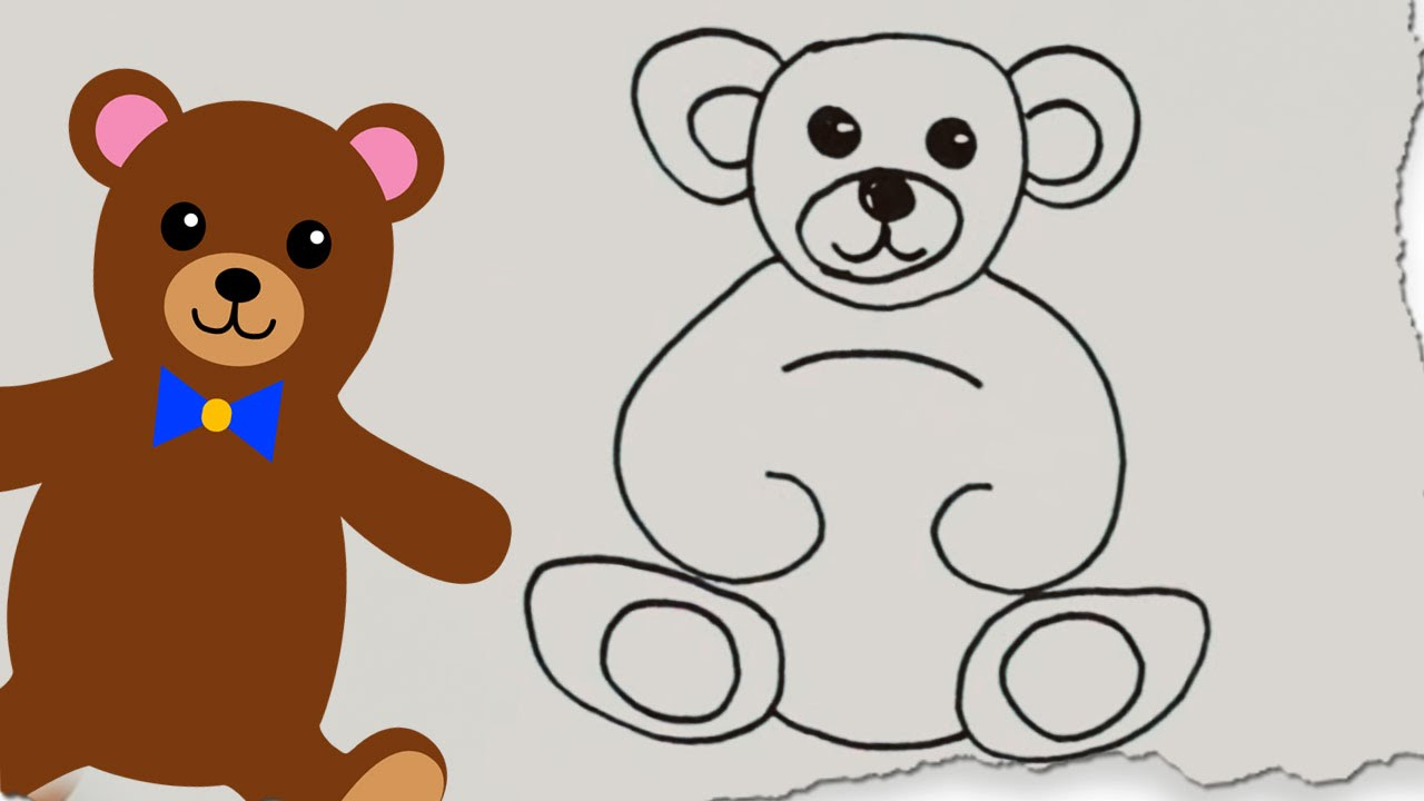 Uncategorized How To Draw A Cartoon Teddy Bear how to draw a teddy bear by hooplakidz doodle drawing tutorial youtube