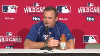 Blue Jays manager John Gibbons on facing Orioles in wild card game