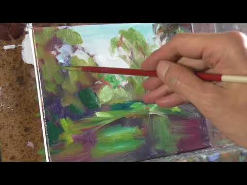 How to Deal with Summer Greens. Realtime version Oil Painting Demo ASMR