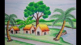 how to draw a village scenery II  কিভাবে একটি গ্রামের ছবি আঁকতে হয়