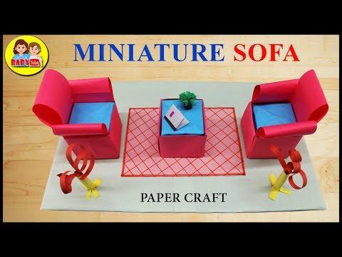 DIY Miniature Sofa , Mini Sofa , How to make a Paper Sofa , Sofa Miniature