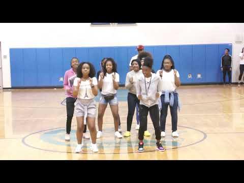 Lincoln Memorial Academy pep rally celebration having fun dancing. 03-12-2020 (2)