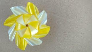 วิธีพับเหรียญโปรยทาน ดอกทานตะวัน/Diy flower ribbon.