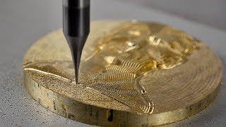 Cnc usinando relevo em Bronze usando fresas de 1 corte e micro fresa, micro fresa para metais