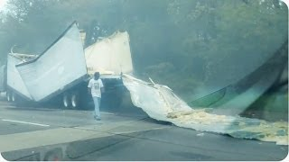 Truck Hits Overpass | Tractor Trailer OBLITERATED