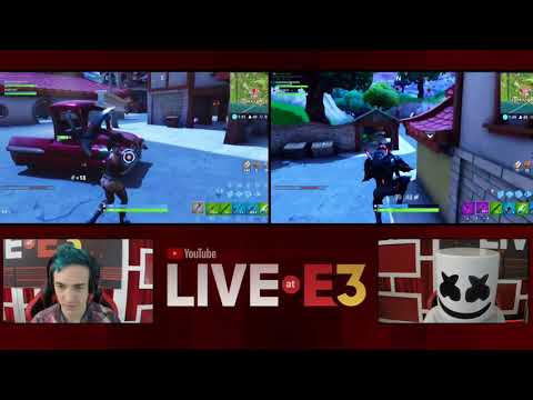 Ninja and Marshmello Play Fortnite at the YouTube Live at E3 Studio Part 1 1