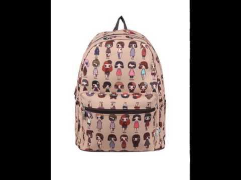 College wind printed backpack tide girls rucksack.avi