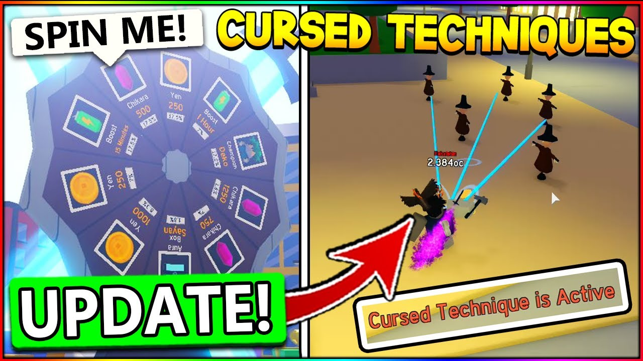 NEW CURSED TECHNIQUES, POWER SPIN WHEEL IN ANIME FIGHTING SIMULATOR UPDATE! Roblox