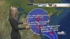 How will Hurricane Sandy affect Indiana weather?