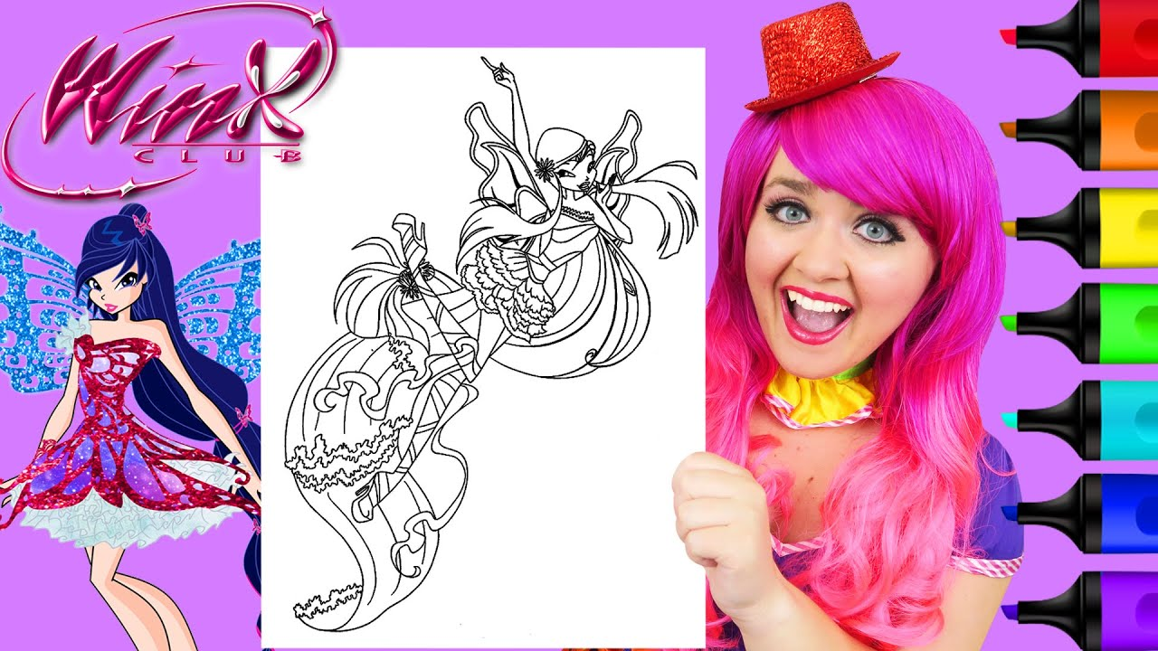 Coloring Winx Club Musa Harmonix Fairy Coloring Page Prismacolor Markers Kimmi The Clown Youtube