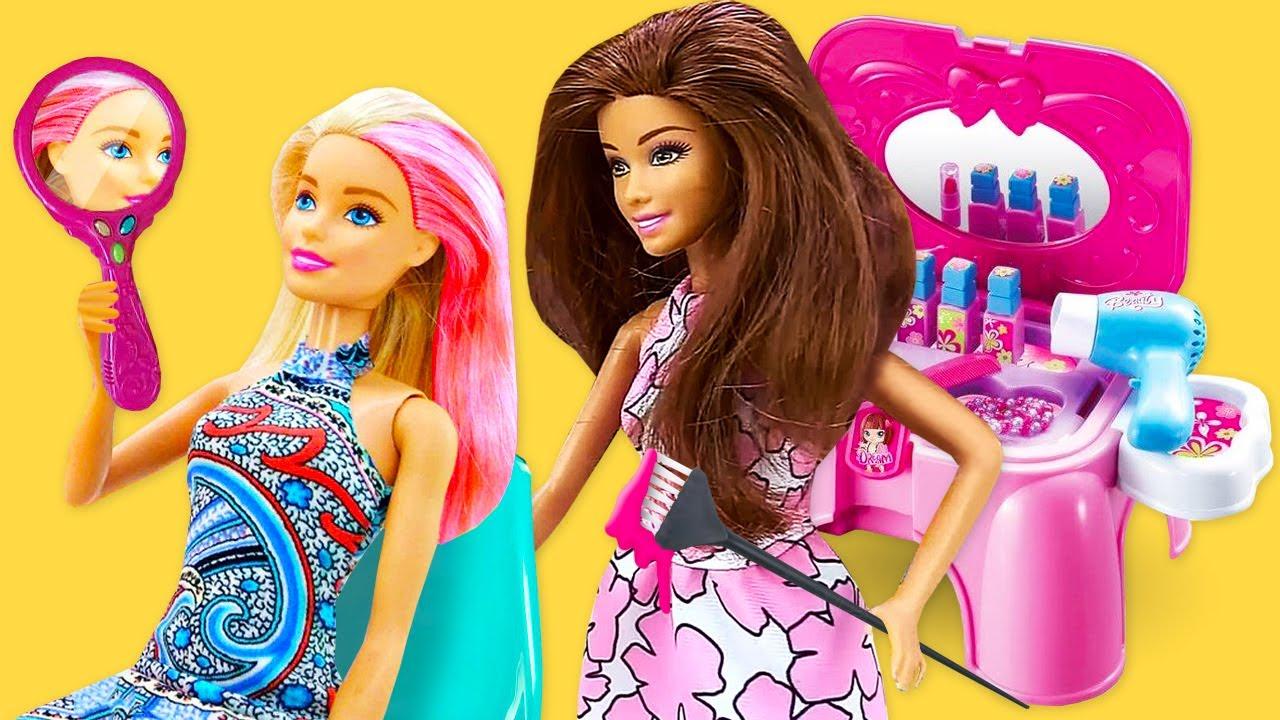Новый стиль для Куклы Барби в Салоне Красоты! Одевалки игры макияж и прическа в сборнике видео