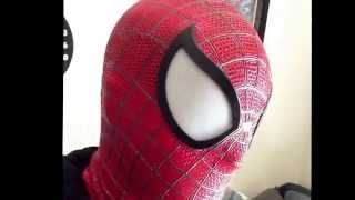 My custom made one of a kind Spider-Man mask and partial suit.
