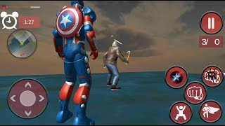 Flying Captain Superhero robot Crime City Battle (by Super Free Games) Android GamePlay