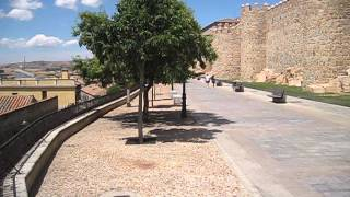 Along the citywall of Avila Spain looking out over the red roofs I