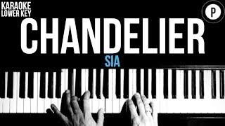 Sia - Chandelier Karaoke SLOWER Acoustic Piano Instrumental Cover Lyrics LOWER KEY