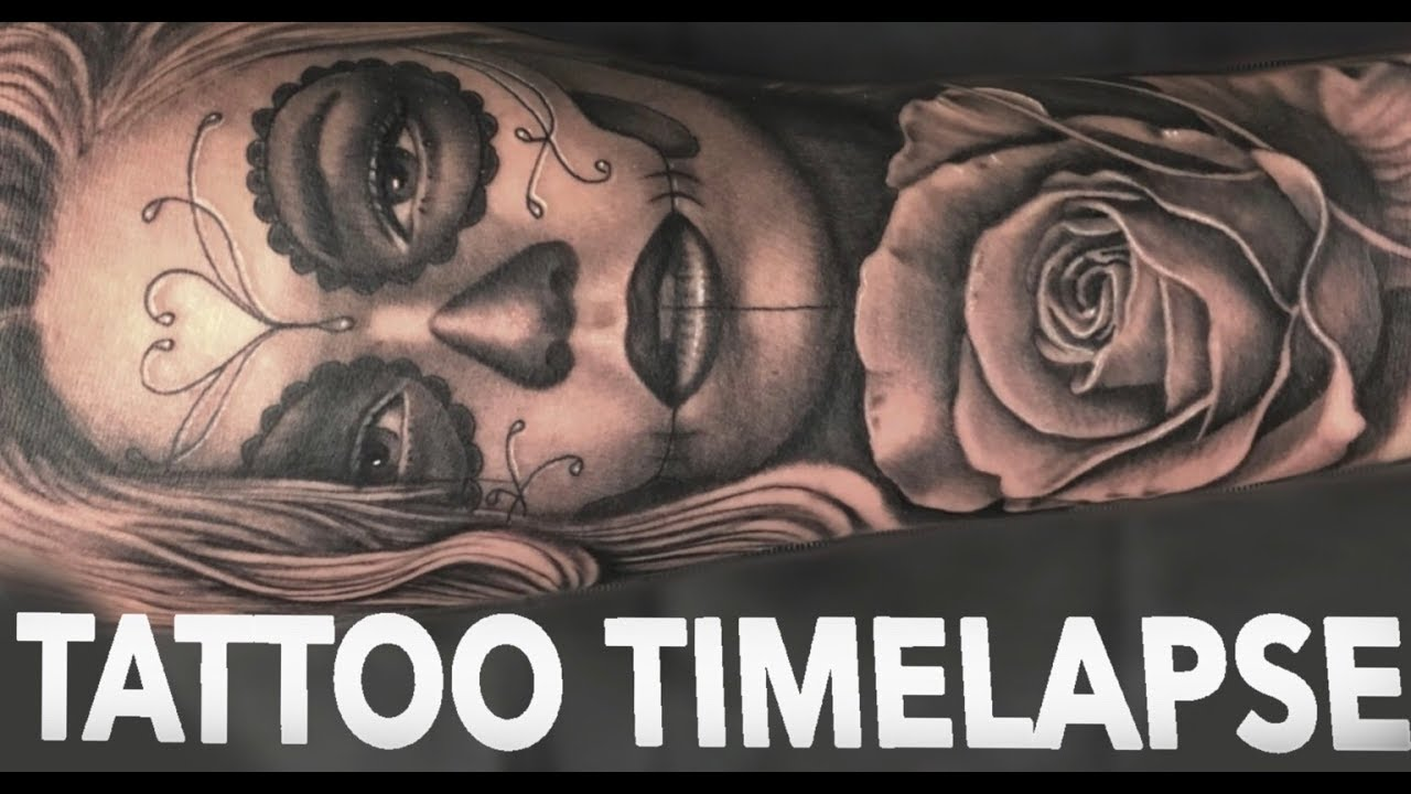5799a97bc TATTOO TIMELAPSE | DAY OF THE DEAD GIRL + ROSE | CHRISSY LEE - YouTube