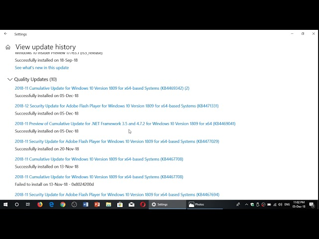 Windows 10 October 2018 update Cumulative update and Flash