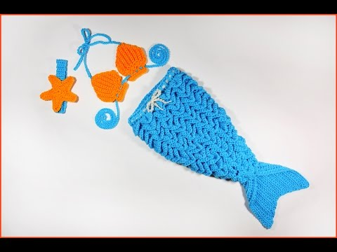 How to Crochet Baby Mermaid Outfit with Crocodile Stitch ...