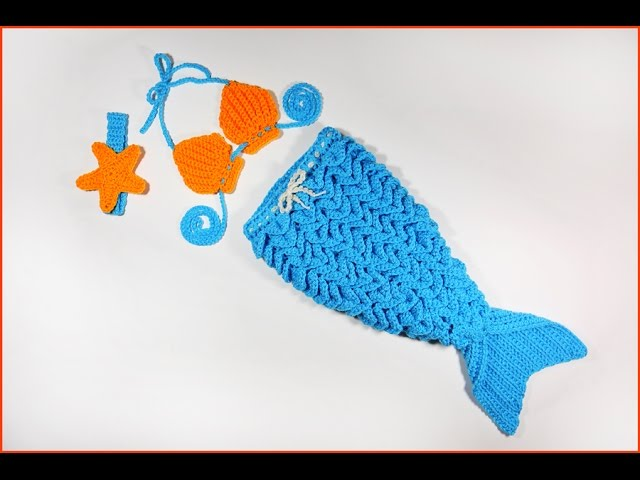 How to Crochet Baby Mermaid Outfit with Crocodile Stitch - clipzui.com