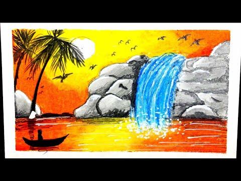 رسم منظر طبيعي شلال ماء سهل خطوة بخطوه للمبتدئين Oil Pastel Painting Youtube