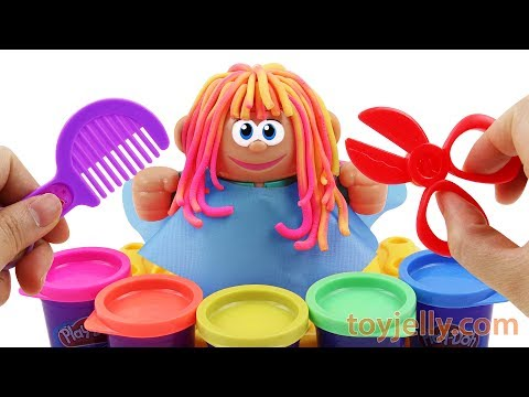 Change Various Hair Style with 6 Colors Play Doh Hair Salon Play Set Baby Toy Appliance for Kids