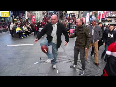 Keepie-uppies in Times Square with an NFL ball, what could possibly go wrong?
