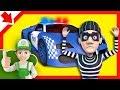 La policía atrapó a un ladrón. Coches policia niños. Dibujos de policias para niños.